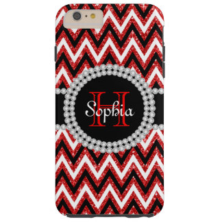 Red Glitter Chevrons Tough iPhone 6 Plus Case