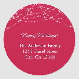 Red & Glitter Christmas Holiday Address Labels