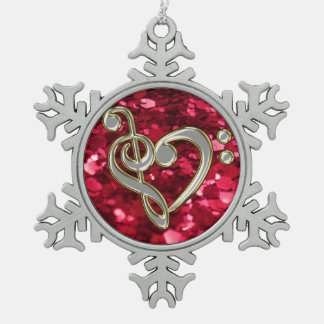 Red Glitter Christmas Music Heart Clef Snowflake Snowflake Pewter Christmas Ornament