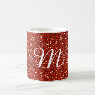 Red Glitter Custom Monogrammed Coffee Mug
