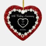Red Glitter DIY Wedding Anniversary Ceramic Heart Decoration