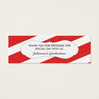 Red glitter favor tag / ANY OCCASION / 2 sides Mini Business Card