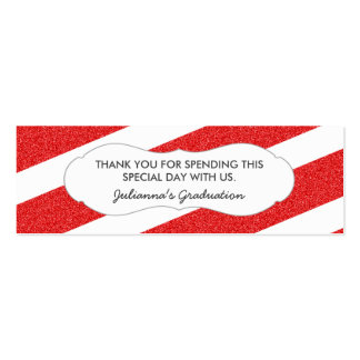 Red glitter favor tag / ANY OCCASION / 2 sides Pack Of Skinny Business Cards