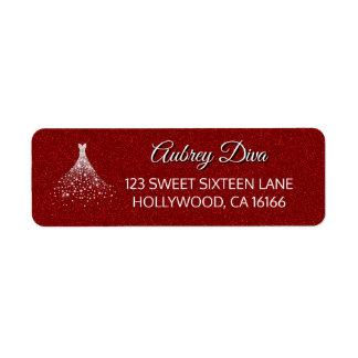 Red Glitter Glam Diamonds Dress Return Address Label