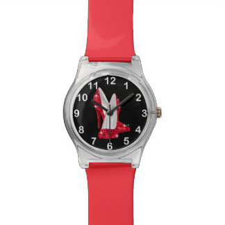 Red Glitter Glamour high heel shoe Wrist Watches