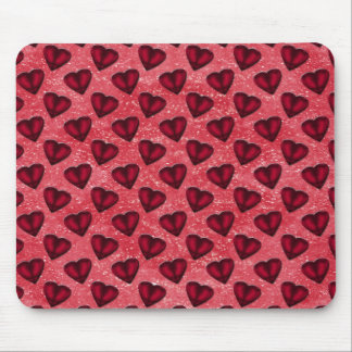 Red Glitter Hearts Mouse Pad