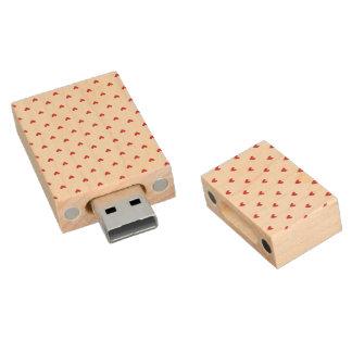 Red Glitter Hearts Pattern Wood USB 2.0 Flash Drive