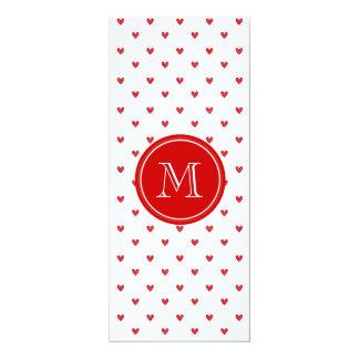 "Red Glitter Hearts with Monogram 4"" X 9.25"" Invitation Card"