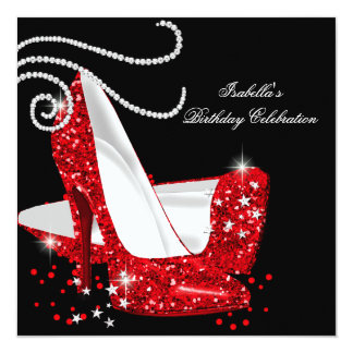 "Red Glitter High Heels Black Birthday Party 5.25"" Square Invitation Card"