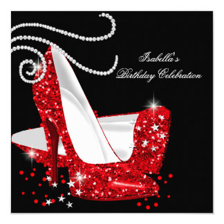 Red Glitter High Heels Black Birthday Party 5.25x5.25 Square Paper Invitation Card