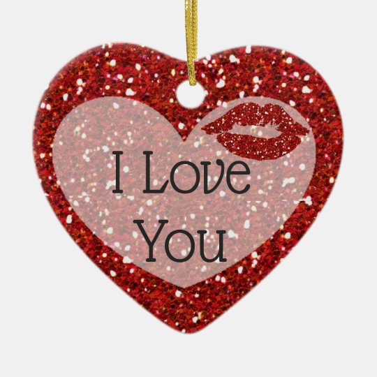 "Red glitter ""I Love You"" Photo Christmas Ornament"