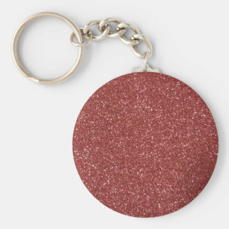 Red Glitter Basic Round Button Key Ring