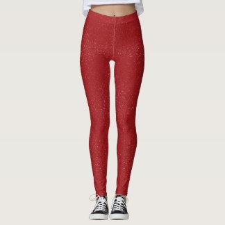 Red Glitter Leggings