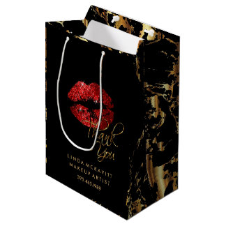 Red Glitter Lipstick and Gold Marble - Thank You Medium Gift Bag