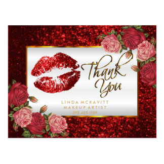 Red Glitter Lipstick and  Roses - Thank You Postcard