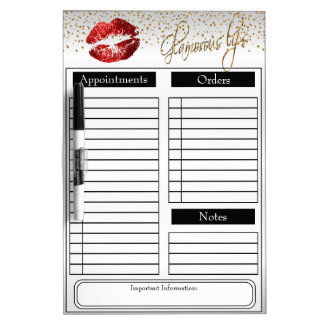 Red Glitter Lipstick on White Dry Erase Boards
