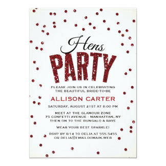 Red Glitter Look Confetti Hens Party Card