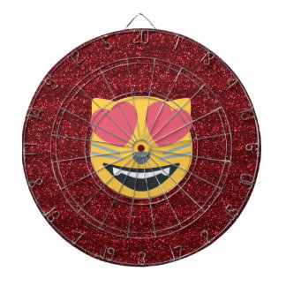 Red Glitter Love Cat Emoji Dart Board