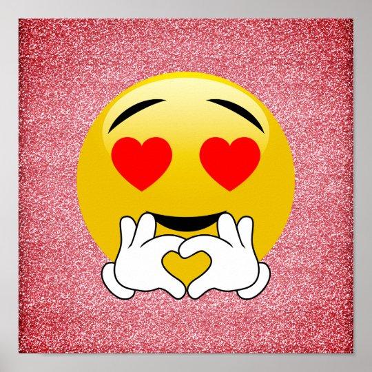 Red Glitter Love Heart Emoji Poster Zazzle Com Au