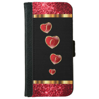 Red Glitter Love iPhone 6 Wallet Case
