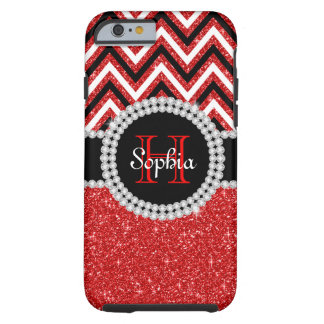 Red Glitter Monogram Tough iPhone 6 Case