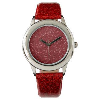 Red Glitter-on-Glitter Men's Watch