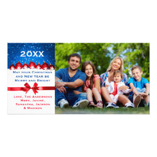 Red Glitter Ornament & Bow - Christmas Photo Card