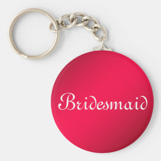 Red Glitter Personalized Bridesmaid Basic Round Button Key Ring