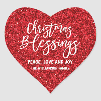Red Glitter Personalized Christmas Blessings Heart Sticker