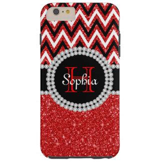 Red Glitter Red Chevron Tough iPhone 6 Plus Case
