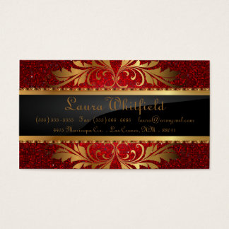 Red Glitter Sequin Disco Glitz Business Card
