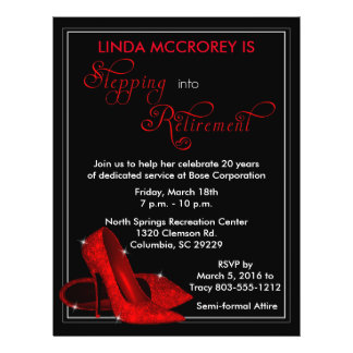 Red Glitter Shoes Retirement Invitation Flyer