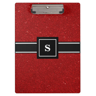 Red glitter sparkles Monogram Clipboard