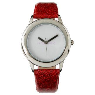 Red glitter stripe pinkflirtdating watch
