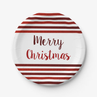 Red Glitter Stripes Merry Christmas Paper Plate