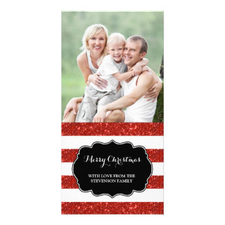 Red Glitter Stripes Merry Christmas Photo Card