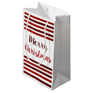 Red Glitter Stripes Merry Christmas Small Gift Bag