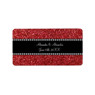 Red glitter wedding favors address label