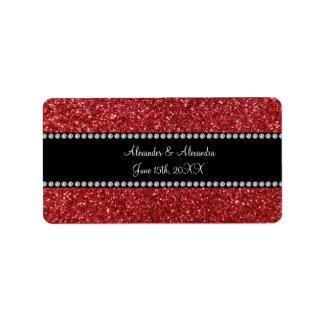 Red glitter wedding favors address label