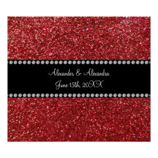 Red glitter wedding favors posters