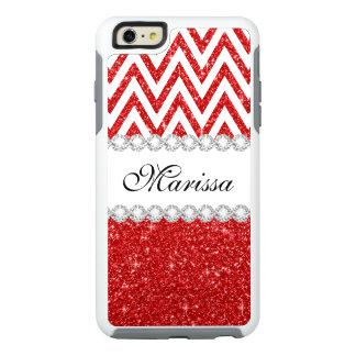 Red Glitter White Chevron OtterBox iPhone 6 Case