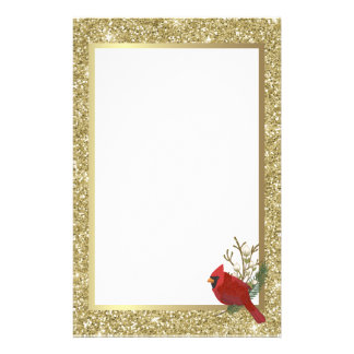 Red Glittery Cardinal with Glittery Gold Border Stationery
