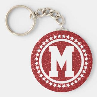 Red Glitz Super Star Monogrammed Basic Round Button Key Ring