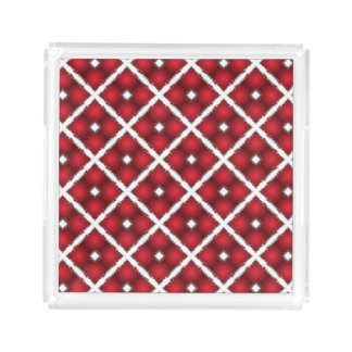 Red Globes, White Rhombuses Retro Pattern Acrylic Tray