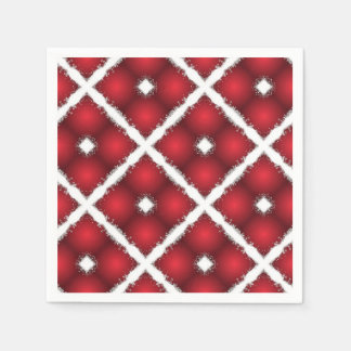 Red Globes, White Rhombuses Retro Pattern Disposable Serviette