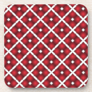 Red Globes, White Rhombuses Vintage Pattern Coaster