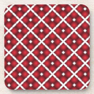 Red Globes, White Rhombuses Vintage Pattern Drink Coasters