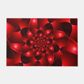 Red Glossy Fractal Spiral Door Mat