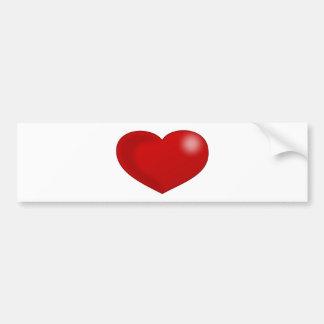 Red Glossy Valentine Heart Bumper Stickers