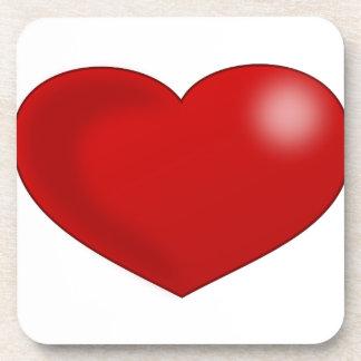 Red Glossy Valentine Heart Beverage Coaster